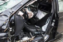 Bilen splittrade vid en krasch i Harlem, New York City, USA royaltyfri fotografi