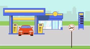 Bilen tankar på illustration för bensinstationvektorlägenhet royaltyfri illustrationer