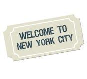 Bilet z teksta powitaniem Nowy Jork miasto ilustracji