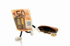 Bileta 50 euro uciekać Zdjęcia Stock