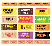 bileta duży kinowy inkasowy rocznik Zdjęcia Royalty Free