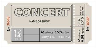 Bileta koncertowy zaproszenie, przedstawienie, talon, ilustracja wektor