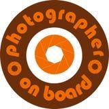 Biletikett för fotograf ombord Arkivbild