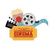 Biletowa kinowa rolka wystrzału kukurudza i clapper Obraz Stock