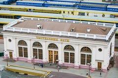 Biletowego biura obubrzeżna pobliska stacja kolejowa Podróżować w Minsk zdjęcia royalty free