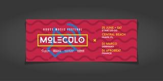 Biletowy projekt Dla lato domu festiwalu muzyki royalty ilustracja