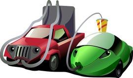bilförbrukningsbränsle high low Arkivfoton