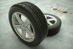 Bilgummihjul på gatan - tolkning 3d Arkivbild