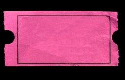 Bilhete cor-de-rosa em branco da admissão. Imagem de Stock