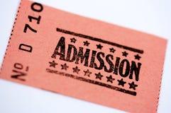 Bilhete da admissão Imagem de Stock