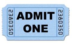 Bilhete da admissão fotografia de stock