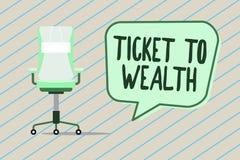 Bilhete da escrita do texto da escrita à riqueza Passagem da roda da fortuna do significado do conceito ao futuro bem sucedido e  ilustração stock