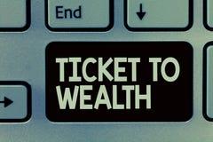 Bilhete da escrita do texto da escrita à riqueza Passagem da roda da fortuna do significado do conceito ao futuro bem sucedido e  ilustração do vetor