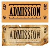 Bilhete das admissões imagens de stock