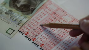 Bilhete de loteria video estoque