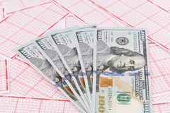 Bilhete de loteria com cédula do dólar Fotografia de Stock Royalty Free