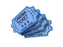 Bilhete de quatro cinemas no branco Imagem de Stock Royalty Free