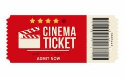 Bilhete do cinema isolado no fundo branco Molde realístico do bilhete do cinema ou do filme Fotos de Stock Royalty Free