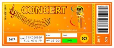 Bilhete do concerto Imagem de Stock Royalty Free