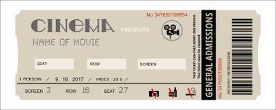 Bilhete do evento do cinema Imagens de Stock
