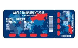 Bilhete do futebol para a entrada ao estádio Projeto do bilhete do futebol para o campeonato do mundo 2018 em Rússia ilustração do vetor