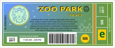 Bilhete do jardim zoológico Foto de Stock