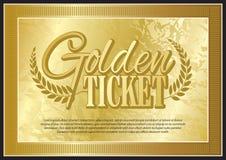 Bilhete dourado Foto de Stock