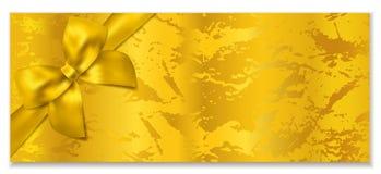 Bilhete dourado, molde do vetor do comprovante da vale-oferta/presente ilustração stock