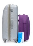 Bilhete e duas malas de viagem para viajar Fotos de Stock Royalty Free