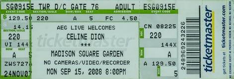Bilhete Madison Square Garden de Celine Dion imagem de stock royalty free