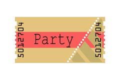 Bilhete, partido, ilustração Fotografia de Stock
