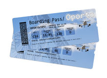 Bilhetes da passagem de embarque da linha aérea ao Porto (Portugal-Europa) Imagens de Stock