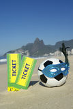 Bilhetes de Brasil com Rio Carnival Football Soccer Ball fotografia de stock royalty free