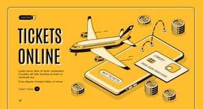 Bilhetes de compra Web site isométrico em linha do vetor ilustração royalty free