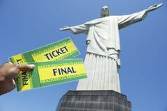 Bilhetes do campeonato do mundo do futebol em Corcovado Rio de janeiro fotos de stock royalty free