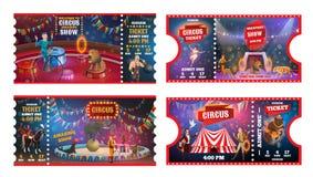 Bilhetes do circo com acrobatas, animais e mágico ilustração royalty free
