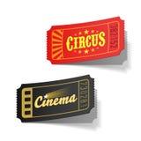 Bilhetes do circo e do cinema Imagens de Stock Royalty Free