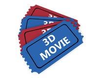 bilhetes do filme 3D Fotos de Stock Royalty Free