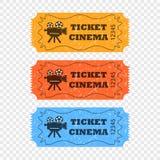 Bilhetes do filme em um fundo transparente em cores diferentes Elementos do vetor para seu projeto ilustração do vetor