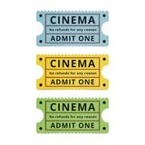 Bilhetes do filme isolados no fundo branco fotos de stock royalty free