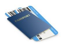 Bilhetes do passaporte e de linha aérea Fotos de Stock