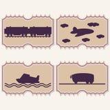 Bilhetes do transporte da ilustração Imagens de Stock Royalty Free