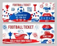 Bilhetes do vetor do campeonato do copo do futebol do futebol Fotos de Stock Royalty Free