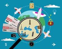 Bilhetes do vetor e globo, conceito do curso Fotos de Stock Royalty Free