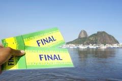 Bilhetes finais de Brasil em Botafogo Sugarloaf Rio de janeiro fotografia de stock royalty free