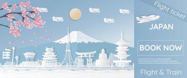 Bilhetes para viajar a Japão, lugares famosos em Japão, anunciando moldes, bilhetes planos em estilos do papel-corte - illustra d ilustração do vetor