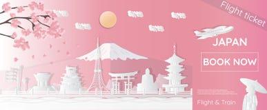 Bilhetes para viajar a Jap?o, lugares famosos em Jap?o, anunciando moldes, bilhetes planos em estilos do papel-corte - illustra d ilustração stock