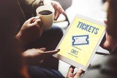 Bilhetes que compram o conceito do entretenimento do evento do pagamento Fotografia de Stock