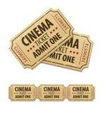 Bilhetes velhos do cinema para o cinema Foto de Stock Royalty Free