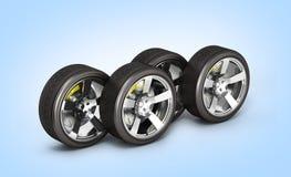 Bilhjul med bromsen som isoleras på blå lutningbakgrund 3d stock illustrationer